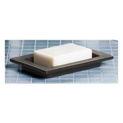 Gedy - Rectangular Moka Porcelain Soap Holder - Elegant, vanity or countertop rectangular soap dish.