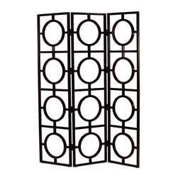 Arteriors Black Wood Mandala Room Screen - Peek-a-boo! This geometric screen will adds a modern grid and some good feng-shui circles to any room in your home. While a screen like this does not block a view or create privacy, it's a great tool for defining spaces within an open floor plan.