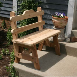 Fifthroom - Cedar Tab Back Bench - The cedar tab back bench is a simplistic, comfortable design at home in any garden.  Available in 3�, 4�, 5� and 6� sizes, the tab backed bench is incredibly versatile.  It can be pulled up to a patio table for outdoor dining seating, or set out on the porch for social gatherings.
