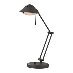 Design Classics Lighting - Swivel Arm Desk Lamp - JT-2127-78 - This swing-arm desk lamp features an adjustable head and base. The arm moves from side to side and also extends outwards. A rotary dimmer changes light levels for versatile light output. This lamp is ideal for a desk or table because of its pivotal head and dimmer. Takes (1) 100-watt halogen T3 bulb(s). Bulb(s) included. UL listed. Dry location rated.