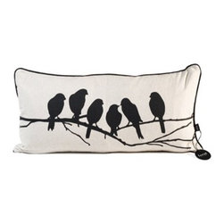 Love Birds Pillow by Ferm Living - Why not let a few black birds perch on a branch...on your sofa? Their sweet silhouettes make this pillow too charming to pass up.