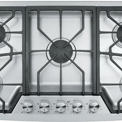 "GE - Gas Cooktops - GE Monogram 36"" Gas Cooktop, Stainless Steel, ZGU385NSMSS"