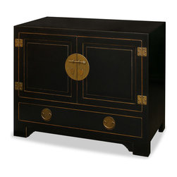"China Furniture and Arts - Elmwood Black Ming Cabinet - Distinct in its simple clean lines, this handsome chest is a fine example of Ming furniture style. One removable shelf behind two doors and one large drawer below provide ample storage room. Classic black finish. The center brassware represents the symbol of unity. Perfect as a sideboard for the dining room or media cabinet for the living room (cable outlets can be made upon request). (Interior measurements for the cabinet is 40""Lx18""Dx19""H.) Assembled."