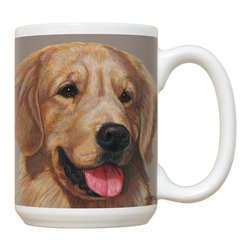 205-Golden Retriever Mug - 15 oz. Ceramic Mug. Dishwasher and microwave safe It has a large handle that's easy to hold.  Makes a great gift!