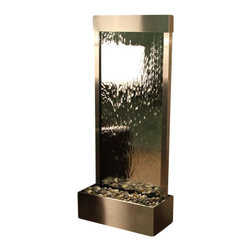 Harmony River Floor Fountain, Stainless Steel, Silver Mirror - The Harmony River Floor Fountain is a centerpiece of serenity and beauty of nature that is perfect for your home or office. This fountain brightens up a room with its tranquil, flowing sounds and a feel of being one with nature.