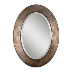 "Uttermost - Kayenta Oval Antiqued Silver Champagne Mirror - Hand forged metal frame with a heavily antiqued silver champagne leaf finish. Mirror has a generous 1 1/4"" bevel."