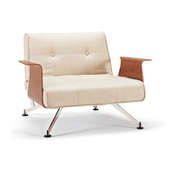 """Innovation USA - """"Innovation"""" Clubber 03 Natural Khaki Chair / Walnut Arms - Decorate your room with this """"Innovation USA"""" Clubber 03 Chair in Natural Khaki with Walnut Arms. This chair is made in natural khaki upholstery and has a chrome base. The armrests are made of bent plywood with wood veneer."""