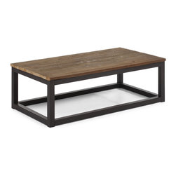 Zuo - Civic Center Long Coffee Table - The Civic Center Long Coffee Table is part of a collection of rustic modern pieces for transitional decors.  Amply proportioned, the Civic Center Long Coffee Table features a top of solid elm planks with a distressed natural wood finish.  The antiqued metal cube base lends clean lines and lived-in ruggedness.  Sturdy and versatile, the coffee table deftly anchors a seating arrangement.  Pair it with the other pieces in the Civic Center collection for a cohesive casual ambiance that evokes a modern industrial era.