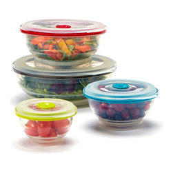 Collapse-It - Collapse-It Food Storage Container Set - With air-tight lids, this sublime set of silicone storage containers has a solution for keeping any item securely sealed and fully fresh! The collapsible construction saves crucial kitchen space when not in use.   Includes 1-cup, 2-cup, 4-cup and 6-cup storage containers and four lids 1-cup container: 2.5'' H x 3.75'' diameter 2-cup container: 3.75'' H x 5'' diameter 4-cup container: 3'' H x 6.5'' diameter 6-cup container: 3'' H x 8'' diameter 100% silicone Toxin-free Freezer-, oven-, microwave- and dishwasher-safe 2-year warranty Imported