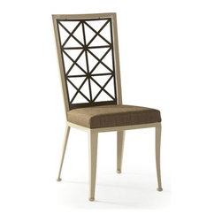 Johnston Casuals - Trellis Side Chair - Give dining that indefinable elan with Johnston Casuals' dining collection. This contemporary design is sculptural and insightful, resulting in urbanely styled tables and chairs that appeal to the aesthete in everyone. This combination works well in today's most sophisticated interiors. Features: -Contemporary style.-Innovative design.-Individually hand crafted.-Commercial grade welding.-Made in USA.-Construction: High quality powder coat metal.-Distressed: No.-Country of Manufacture: United States.Dimensions: -Overall Product Weight: 59 lbs.Warranty: -Manufacturer provides ten years structural warranty on metal frames.