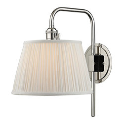"Hudson Valley - Traditional Hudson Valley Fillmore 14 1/2"" High Polished Wall Sconce - This lovely and functional polished nickel finish hardwired wall sconce has a slender metal arm that swivels on a round backplate. Operated with a signature HVL switch and topped with a gently gathered white faux silk shade that spreads a wonderfully warm illumination. Enhance your decor for years to come with this beautiful Hudson Valley lighting design. Swing arm wall sconce. Metal construction. Polished nickel finish. Gathered white faux silk shade with socket ring attachment. Hardwired. Operates with Hudson Valley's signatures HVL switch. Takes one maximum 75 watt or equivalent bulb (not included). Extends 13 1/4"". Round backplate is 5 1/2"" wide. 14 1/2"" high.  Swing arm wall sconce.  Metal construction.  Polished nickel finish.  Gathered white faux silk shade with socket ring attachment.  Hardwired.  Operates with Hudson Valley's signatures HVL switch.  Takes one maximum 75 watt or equivalent bulb (not included).  Extends 13 1/4"".  Round backplate is 5 1/2"" wide.  14 1/2"" high."