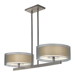 Sonneman Lighting - Sonneman Lighting 6000.13 Puri 2-Light Island Light In Satin Nickel - Sonneman Lighting 6000.13 Puri 2-Light Island Light In Satin Nickel