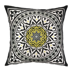 """Nanette Lepore - Nanette Lepore Medallion Black Embroidered Pillow - Globally-inspired style makes a striking statement on this Nanette Lepore embroidered pillow. Eclectic and unique, this decorative accessory allures with a black, white and yellow medallion pattern. 20""""W x 20""""H; 100% ramie; Dry clean only; Feather down fill insert included"""