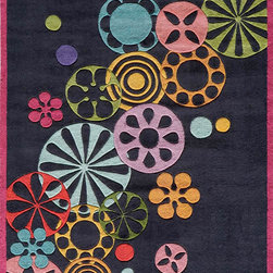 Momeni - Momeni Lil Mo Hipster LMT-8 (Black) 4' x 6' Rug - The ultra-hip elements are captured to make 'Lil Mo Hipster the ultimate 'tween collection. Comic book inspired waves, bold millifleur and edgy skaters adorn these hand-tufted mod-acrylic pieces. A funky use of color makes these the perfect complement to any up and coming hipster's decor!