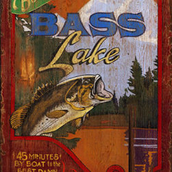 Red Horse Signs - Bass Lake   Large Vintage Lake Fishing Sign - Vintage  Fishing    Sign  -  Bass  Lake  Nostalgic  Advertising  SignAdd  your  name  to  this  rustic    Bass  Lake  fishing  sign  and  create  quite  a  stir  the  next  time  friends  stop  by  for  a  quiet  day  at  the  lake.  They'll  marvel  at  the  vintage  styling  and  weathered  appearance  of  this  sign  bearing  your  name  as  the  one  to  call  for  a  great  day  of  fishing.  Printed  directly  to  distressed  wood  for  that  rustic  look  so  popular  just  now    this  sign  measures  20  x  32  and  is  sure  to  thrill  and  delight  friends  and  family  alike.  Makes  a  great  gift.  Place  name  also  customizable.