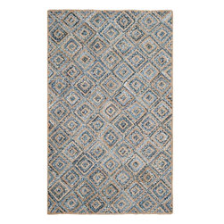 Safavieh - Charleston Natural Fiber Rug, Natural / Blue 9' X 12' - Construction Method: Hand Woven. Country of Origin: India. Care Instructions: Vacuum Regularly To Prevent Dust And Crumbs From Settling Into The Roots Of The Fibers. Avoid Direct And Continuous Exposure To Sunlight. Use Rug Protectors Under The Legs Of Heavy Furniture To Avoid Flattening Piles. Do Not Pull Loose Ends; Clip Them With Scissors To Remove. Turn Carpet Occasionally To Equalize Wear. Remove Spills Immediately. Think coastal living and casual beach house style with rugs so classic they will even work in the city. Safavieh's natural fiber rugs are soft underfoot, textural, natural in color and woven of sustainably-harvested sisal and sea grass, or biodegradable jute fibers twice-washed for unrivaled softness and beauty.