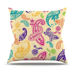 """Kess InHouse - Emine Ortega """"Namaste"""" Floral Abstract Throw Pillow (Outdoor, 20"""" x 20"""") - Decorate your backyard, patio or even take it on a picnic with the Kess Inhouse outdoor throw pillow! Complete your backyard by adding unique artwork, patterns, illustrations and colors! Be the envy of your neighbors and friends with this long lasting outdoor artistic and innovative pillow. These pillows are printed on both sides for added pizzazz!"""