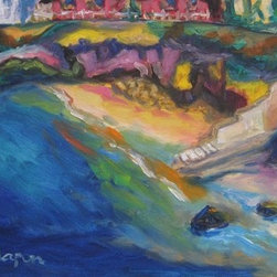 The Tide Always Moves (Original) by Dixie Galapon - This is a plein air work from the La Jolla Cove in San Diego. I painted this on a warm summery day looking down on the cove. I was surrounded by tourists looking over my shoulder while I was painting, but I managed to create this masterpiece. I can almost hear the ocean waves rolling in. Enjoy!