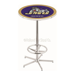 Holland Bar Stool - Holland Bar Stool L216 - 42 Inch Chrome James Madison Pub Table - L216 - 42 Inch Chrome James Madison Pub Table  belongs to College Collection by Holland Bar Stool Made for the ultimate sports fan, impress your buddies with this knockout from Holland Bar Stool. This L216 James Madison table with retro inspried base provides a quality piece to for your Man Cave. You can't find a higher quality logo table on the market. The plating grade steel used to build the frame ensures it will withstand the abuse of the rowdiest of friends for years to come. The structure is triple chrome plated to ensure a rich, sleek, long lasting finish. If you're finishing your bar or game room, do it right with a table from Holland Bar Stool.  Pub Table (1)