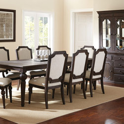 Steve Silver Furniture - Steve Silver Cayden 10 Piece Dining Room Set in Distressed Black Walnut - The classic look of the Cayden table adds an air of sophistication to any dining room. Made of wire-brush weathered acacia solids and veneers with a distressed black walnut finish  the dining table with 18 leaf features features bold details and seats up to eight comfortably.