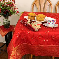 "Unique & Decorative Tablecloths - Beautiful Holidays Decor with ""Scarlet Red"" Square tablecloth and Gold border. Hand Embroidered India design. Dupion Silk fabric."