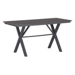 "Union 72"" Trestle High Dining Table - The union of faux wood and aluminum brings it all together for outdoor celebrations and backyard bashes. Trestle-style picnic table in charcoal sets a recessed foundation for a slatted tabletop of weather-resistant polystyrene, finished in grey with the look of real wood. Pop in an umbrella and unite with coordinating bench or dining chairs for all-in-one fun."