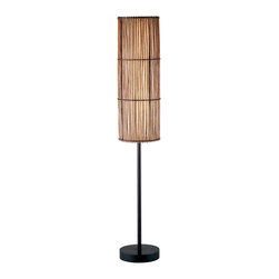 Adesso - Maui Lamp, Floor Lamp - Each antique bronze Maui lamp has brown bamboo stick shade(s) lined with fabric-like white rice paper. Wooden disk base with metal stick pole.  Matching round wood finial. Foot step switch. 2 X 60 Watt incandescent or 13 Watt CFL bulbs.