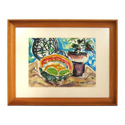 Lost Art Salon - Original Framed Mid Century Watercolor Still Life - Bring the brilliant colors of nature into your space with this vibrant watercolor by Richard Van Wingerden. As a midcentury piece, you'll want to give it a home on your wall. The abalone shell will remind you of ocean life, while the potted plant will make you feel right at home on land.