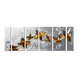 Pure Art - Nature's Flight Pattern Wall Art Set of 6 - This artwork features a delightful parade of seven butterflies of various sizes, fluttering along a curvaceous, airy path. Whether they are following each other to flower filled destination or migrating, the detailing in their wings and features is breathtaking and the deep coloration of the butterflies against the silvery white backdrop adds a flourish of movement to the design.Made with top grade aluminum material and handcrafted with the use of special colors, it is a very appealing piece that sticks out with its genuine glow. Easy to hang and clean.