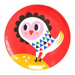 Helen Dardik Melamine Plate Red Owl - One 8 inch Helen Dardik Owl print on Red 100% melamine plate. Perfect for children, outdoor entertaining or everyday light lunch or snack. BPA and Phthalate free. Dishwasher safe; not suitable for microwave use.