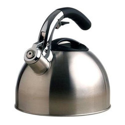 Epoca - Soft Grip Kettle 3 Qt. Stainless Steel - Premium Soft Grip Brushed Stainless Steel Tea Kettle 3.0 qt. - Premium's Soft Grip Tea Kettle holds a generous 3 qts. of water- enough to make 12 cups of tea from one pot.  Each Soft Grip Whistling Tea Kettle is constructed of brushed Stainless Steel with an encapsulated bottom.  Stainless Steel heats up quickly and helps guard against rust.  Premium's specially designed phenolic soft grip handle provides a firm stay-cool grip.  Another special feature is the flip up spout which allows for safe handling and even pouring.  Even the lid was carefully constructed, with a heat-resistant looped handle for easy removal to sit atop a wide opening for easy fill and cleaning.  A soft pleasant whistle is emitted when water reaches a boil.