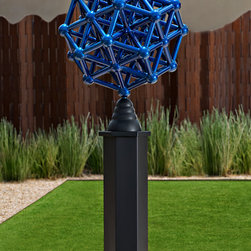 Sculpture - Charged Particle is a contemporary art sculpture by Phoenix sculptor Kevin Caron. This geometric sculpture can stand on the pedestal (included) or on a table, sideboard, etc. Its blue finish catches the light and reflects it as the sun moves through a room, casting fascinating shadows and surprising glints.