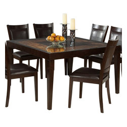Homelegance - Homelegance Vincent Square Dining Table in Espresso/ Oak - Glass overlays the intricate acacia wood block staggered pattern of the Vincent collection. Each intricate pattern surrounds a center contrasting block. This unique table features a modern espresso/oak two-toned finish. Wood framed chairs with chocolate brown bi-cast vinyl seats and backs flank this contemporary table.