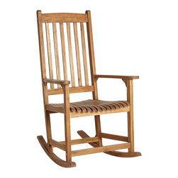 "Lamps Plus - Coastal Benson Natural Outdoor Rocking Armchair - Benson Natural Outdoor Rocking Armchair. Traditional style rocking armchair. Acacia wood construction. Slatted back and seat in a natural finish. May be used indoors or outdoors. Some assembly required. 45"" high. 32"" deep. 26"" wide.  Traditional style rocking armchair.   Acacia wood construction.  Slatted back and seat in a natural finish.   May be used indoors or outdoors.   Some assembly required.   45"" high.   32"" deep.  26"" wide."