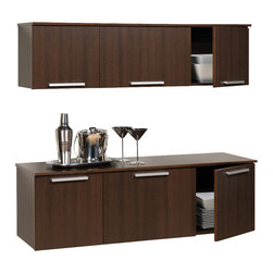 Prepac - 42.25 in. Buffet with Hutch - Three doors with hidden and self-closing hinges. Mounts easily to wall with our innovative hanging rail system. Buffet has center compartment with adjustable shelf. Contemporary rectangular metal handles. Hutch top capacity: 60 lbs.. Buffet top capacity: 90 lbs.. Shelf weight capacity: 20 lbs.. Warranty: Five years. Made from high quality, laminated composite woods. Espresso finish. Made in North America. Hutch center: 18.75 in. W x 11 in. D x 11.5 in. H. Hutch sides: 12.75 in. W x 11 in. D x 11.5 in. H. Buffet center: 18.75 in. W x 14.25 in. D x 13.5 in. H. Buffet sides: 12.75 in. W x 14.25 in. D x 13.5 in. H. Hutch: 47.25 in. W x 12 in. D x 13 in. H. Buffet: 47.25 in. W x 15.75 in. D x 15 in. HThe hutch with buffet gives your home more storage without taking away any of its floor space. Perfectly suited for a dining room, living room, office or entryway, this elegant storage solution mounts to the wall for a clean look and easy access.