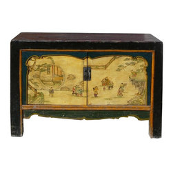 Golden Lotus - Chinese Black Yellow Green Kids Graphic Console Table - This console table has dark brown near black lacquer on the table top. The front doors is painted with blue, green and light yellow base color and graphic of kids playing scenery.