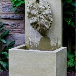 Campania International Leaf Sculpture Outdoor Fountain - About Campania InternationalEstablished in 1984, Campania International's reputation has been built on quality original products and service. Originally selling terra cotta planters, Campania soon began to research and develop the design and manufacture of cast stone garden planters and ornaments. Campania is also an importer and wholesaler of garden products, including polyethylene, terra cotta, glazed pottery, cast iron, and fiberglass planters as well as classic garden structures, fountains, and cast resin statuary.Campania Cast Stone: The Process The creation of Campania's cast stone pieces begins and ends by hand. From the creation of an original design, making of a mold, pouring the cast stone, application of the patina to the final packing of an order, the process is both technical and artistic. As many as 30 pairs of hands are involved in the creation of each Campania piece in a labor intensive 15 step process.The process begins either with the creation of an original copyrighted design by Campania's artisans or an antique original. Antique originals will often require some restoration work, which is also done in-house by expert craftsmen. Campania's mold making department will then begin a multi-step process to create a production mold which will properly replicate the detail and texture of the original piece. Depending on its size and complexity, a mold can take as long as three months to complete. Campania creates in excess of 700 molds per year.After a mold is completed, it is moved to the production area where a team individually hand pours the liquid cast stone mixture into the mold and employs special techniques to remove air bubbles. Campania carefully monitors the PSI of every piece. PSI (pounds per square inch) measures the strength of every piece to ensure durability. The PSI of Campania pieces is currently engineered at approximately 7500 for optimum strength. Each piece is air-dried and th