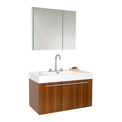 Fresca - Fresca Vista Teak Modern Bathroom Vanity w/White Acrylic Sink & Countertop - A spacious one basin vanity is a chic addition to any decor. Ideal for anyone looking for a winning combination of style, sleek design, and size that brings it all together to presnt something dashingly urban. A simple sleekly chic design that compliments any interior that demands to be updated to a strong streamlined space. Side cabinet can be purchased separately.