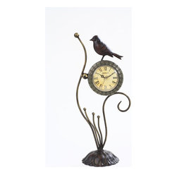 Maple's Clock - Bird Metal Decor Table Clock - - Roman numerals  - Antique dial face  - Oranate hour and minute hand  - Brass second hand  - Battery - 1AA (Not Included) Maple's Clock - FL28750