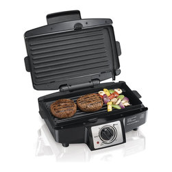 Hamilton Beach - Indoor Grill - This Hamilton Beach easy-to-clean indoor grill has removable grids that are dishwasher safe. It features brushed Stainless Steel accents, a nonstick surface that opens flat to a 110 square inches grill and select timer or stay on. It cooks most meals in ten minutes or less.