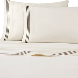 Madison Park - Madison Park Hotel 200TC Cotton Sheet Set - Complete your bedding collection with the Madison Park Hotel 200TC cotton sateen sheet set. This sheet set features a 200TC cotton sateen in a soft ivory color. The flat sheet and pillowcases are accented with a rich chocolate brown barrata embriodery on the hem. The colors coordinate back to all the colorways offered in the Hotel comforter and duvet set collection. 100% cotton 200TC percale fabric solid, baratto embroidery stitch on hem