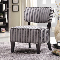 Contemporary Living Room Chairs Grey Stripes Accent Chair