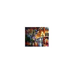 Leonid AFremov - Rain in Miami - Palette Knife Oil Painting On Canvas By Leonid Afremov - Oil painting on canvas