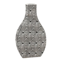 iMax - iMax Reagan Small Pattern Vase X-37578 - The small Reagan vase features bold geometric pattern in a stark black and white contrasting color scheme. Pair with its larger counter part for a striking set of conversation pieces.