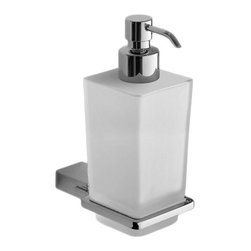 Gedy - Wall Mounted Square Frosted Glass Soap Dispenser - Modern, contemporary style wall mounted square hand soap dispenser.