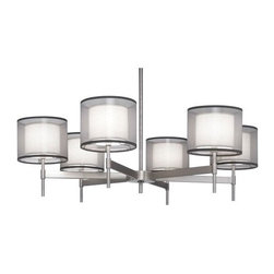 Robert Abbey - Robert Abbey | Saturnia 6-Light Chandelier - Design by Robert Abbey, 2009. The Saturnia Collection Chandelier features 6 shaded lights on a spoke center. Direct wire only. Choose Deep Patina Bronze finish with Bronze transparent fabric exterior shade/Ascot White fabric interior shade or stainless steel finish with silver transparent exterior/Ascot white interior shades.
