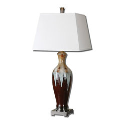 Uttermost - Ceramic And Brushed Nickel Lupone Table Lamp With Square Shade - Ceramic And Brushed Nickel Lupone Table Lamp With Square Shade