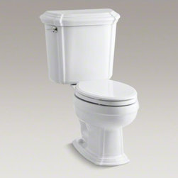KOHLER - KOHLER Portrait(R) two-piece elongated 1.6 gpf toilet with Ingenium(R) flush tec - The Portrait collection draws its inspiration from the understated sophistication of French Provincial design. With its sculpted lines and soft edges, this Portrait toilet reflects the contours found in traditional furniture yet is versatile enough to fit many bathroom styles. The two-piece toilet comes with an elongated bowl for exceptional seated comfort. And with a 1.6-gallon flush setting, this toilet delivers outstanding performance.