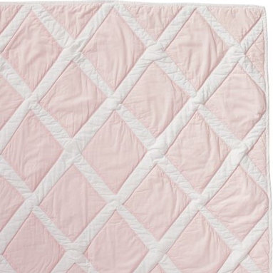 Serena & Lily - Pink Diamond Quilt - Rows of diamonds are appliqued by hand on this thick and lofty cotton quilt, creating wonderful imperfections and texture. The percale is stonewashed for incredible softness. Shell pink diamonds appliqued on white; solid white on reverse.