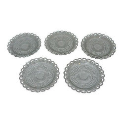 Used Greek-Key Glass Salad Plates - Set of 5 - Get 'em to the Greek! Or if you're feeling more like a night in, set the table with this versatile collection of five vintage Greek-key glass salad plates. There is no maker's mark.